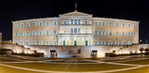 Panoramic view of the Greek Parliament building at night, Athens