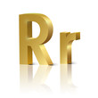 Vector letter R of golden design alphabet
