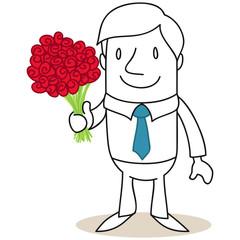 Geschäftsmann, Blumenstrauß
