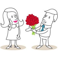 Figur, Mann, Frau, Blumenstrauß, Rosen, Valentinstag