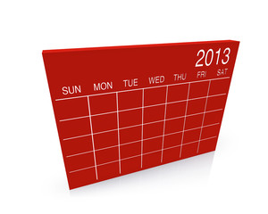 "3D red calendar background for ""2013"" year"