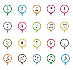 set of music note pointer