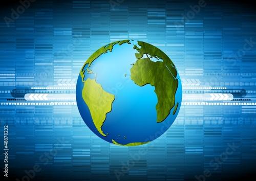 Blue vector technology design with grunge globe