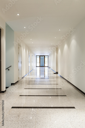 modern architecture, interior, long corridor