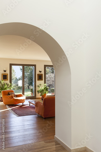 interior, furnished apartment, view of living room from hall