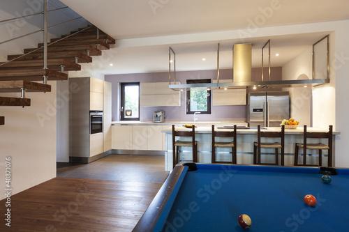 nice modern loft, room with billiards
