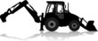 Silhouette of a tractor of road service in profile