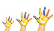 Three colorful hands with smiling face of family