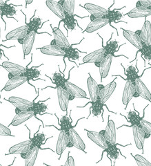 Seamless vector flies pattern in vintage engraved style