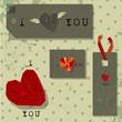 valentines hearts, labels on retro vintage background