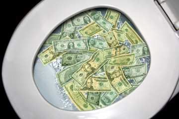 Money Flows Down Toilet