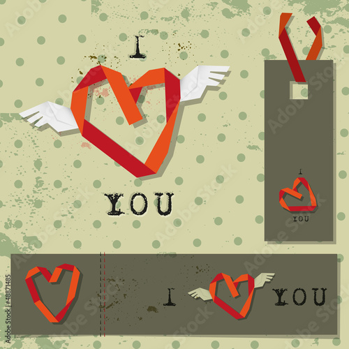 valentines winged heart labels on vintage retro background
