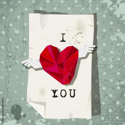 valentines winged heart on vintage retro background