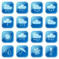 Weather blue icons set