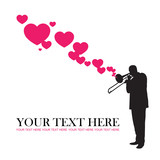 Jazzman and hearts vector illustration. Place for your text.