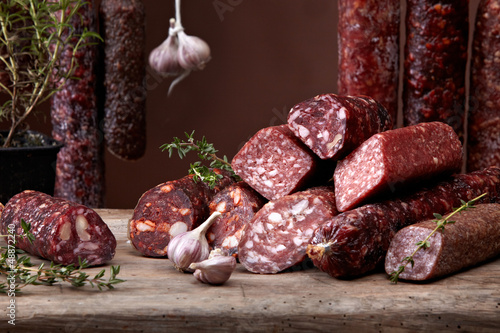 various salami sausages