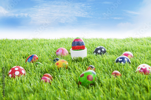 Easter eggs on grass horizontal