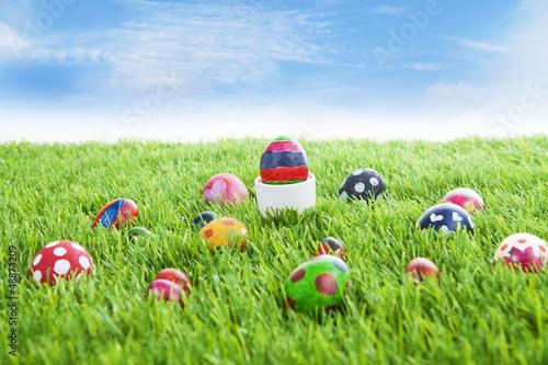 Easter eggs on grass horizontal