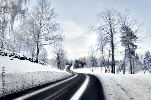 winding road in winter