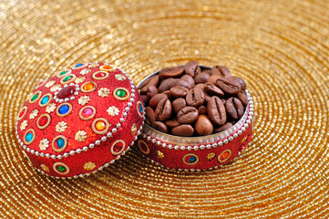 coffe seeds in jewelry box