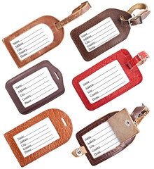 Collection of leather luggage tags isolated on white
