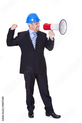 Male Architect Shouting In Megaphone