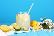 Citrus lemonade in glass bank of citrus around