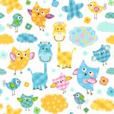 cute birds & giraffes seamless pattern