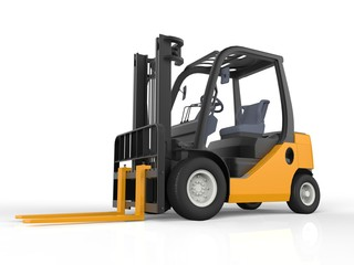 Yellow Forklift Truck, Isolated on White Background