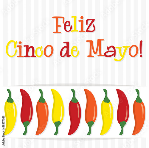 """Feliz Cinco de Mayo"" (Happy 5th of May) chilli card in vector f"