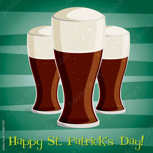 """Happy Saint Patrick's Day"" beer card in vector format."