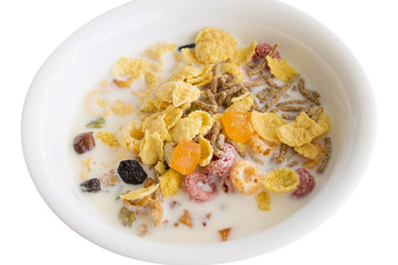 Variety of cereals in white bowl