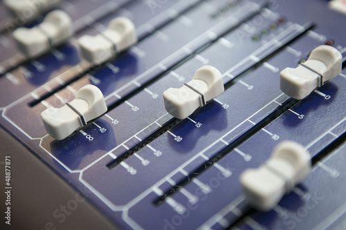 Close up of mixer console