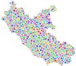 Map of Lazio - Italy - in a mosaic of harlequin bubbles