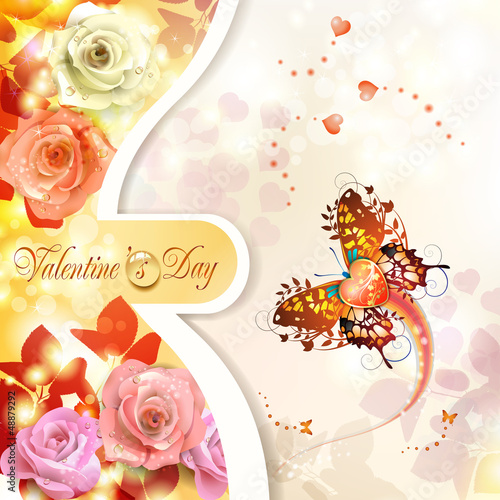 Valentine's day card with roses and butterflies