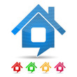 Abstract house icon shaped as speech bubble