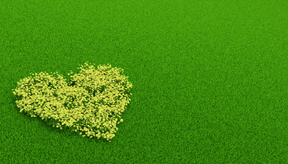 yellow flowerbed of in a shape of heart
