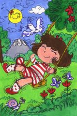 Little girl on a swing in springtime. Hand made illustration.