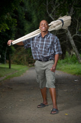 South African entrepreneur small business broom salesman
