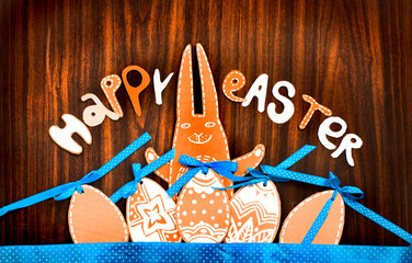 Easter background with eggs and bunny