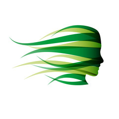 Logo green girl in the wind # Vector