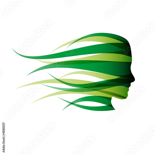 Logo green girl in the wind # Vector