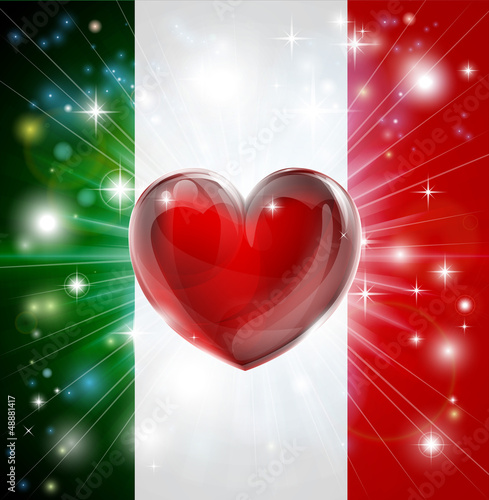 Love Italy flag heart background