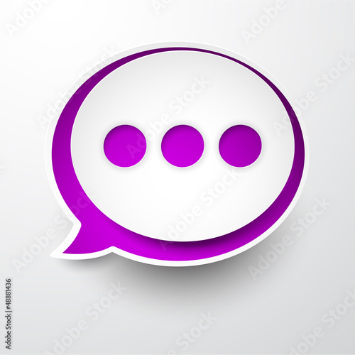 Paper white-purple round speech bubble.