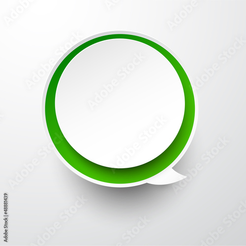 Paper white-green round speech bubble.