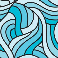 Tangled blue seamless pattern.