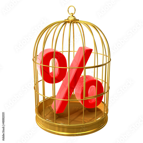 Birdcage with percent sign locked inside