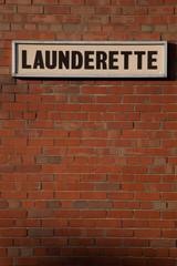 Launderette sign.