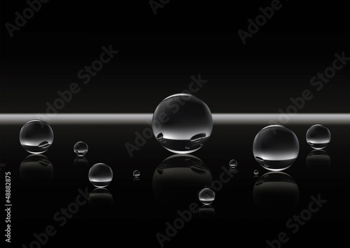 Group metallic (glass) spheres on reflecting surface