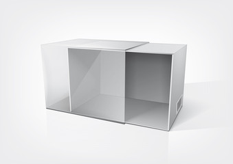 Empty opened packaging box for new design